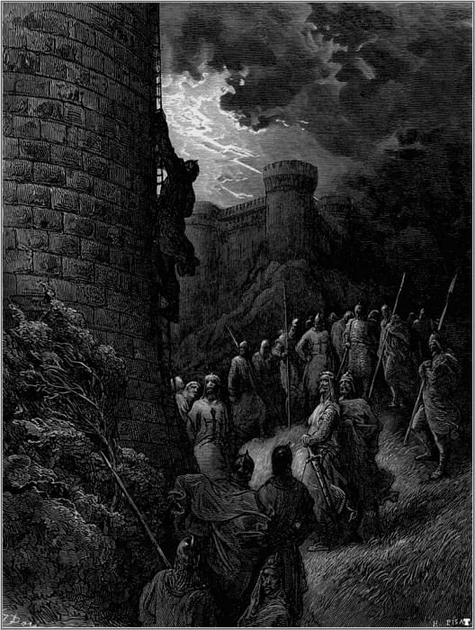 crusades bohemond mounts rampart of antioch. Gustave Dore