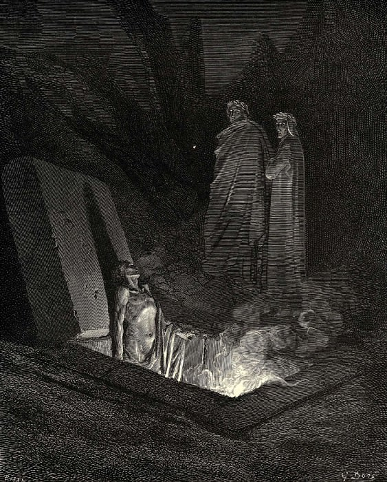 He in disdainful mood address-d me -Say what ancestors were thine-. Gustave Dore