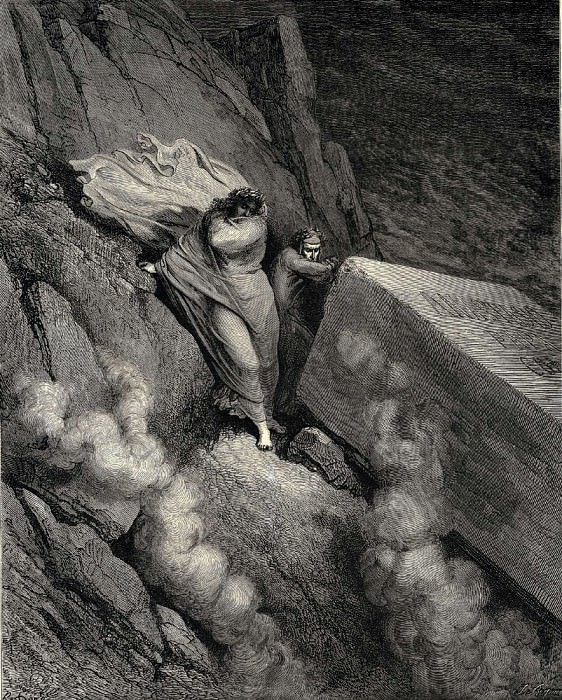 From the profound abyss behind the lid of a great monument we stood retir-d. Gustave Dore