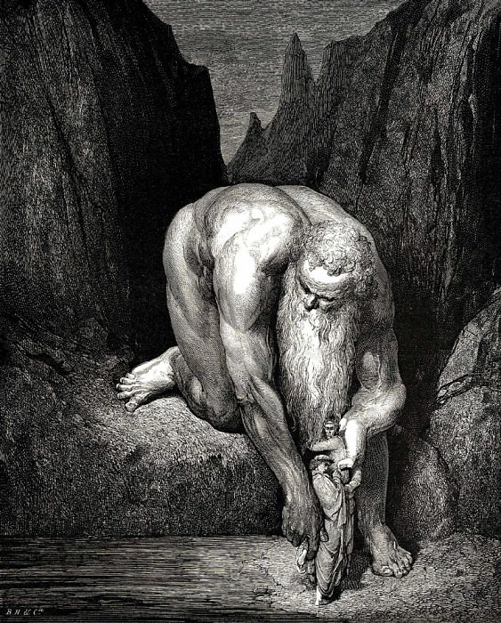 He placed us carefully on the bottom of the gorge where Lucifer and Judas are tortured. Gustave Dore