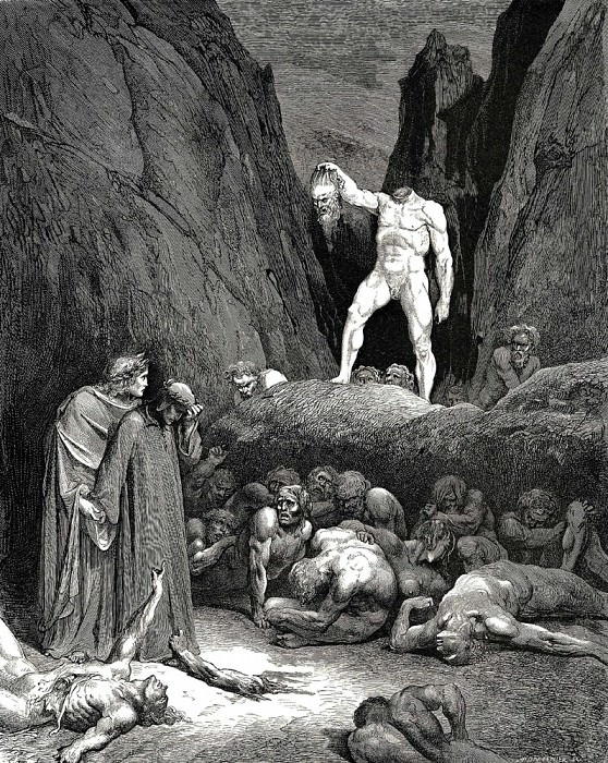 This head looked at us and shouted -Hey-. Gustave Dore