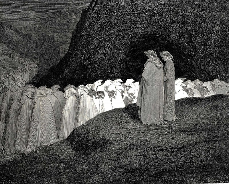 Tuscan who visitest the college of the mourning hypocrites. Gustave Dore