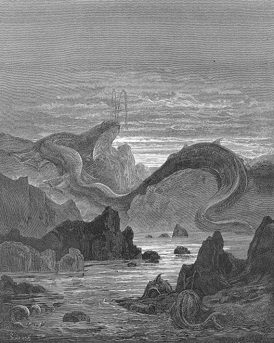 And seems a moving land and at his gills Draws in and at his trunk spouts out a sea. Gustave Dore