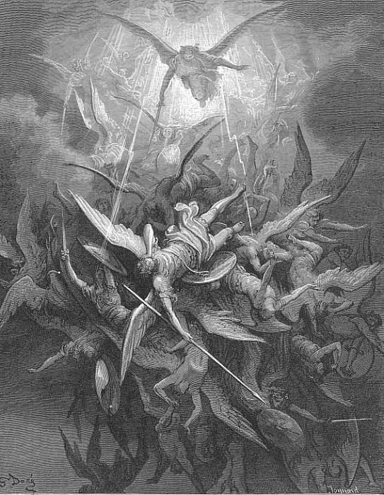 Him The Almighty Power Hurled Headlong Flaming from the Eternal Sky. Gustave Dore
