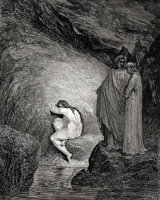 Вот грешная душа той Мирры, что своего отца безжалостно терзала своей любовью. Гюстав Доре