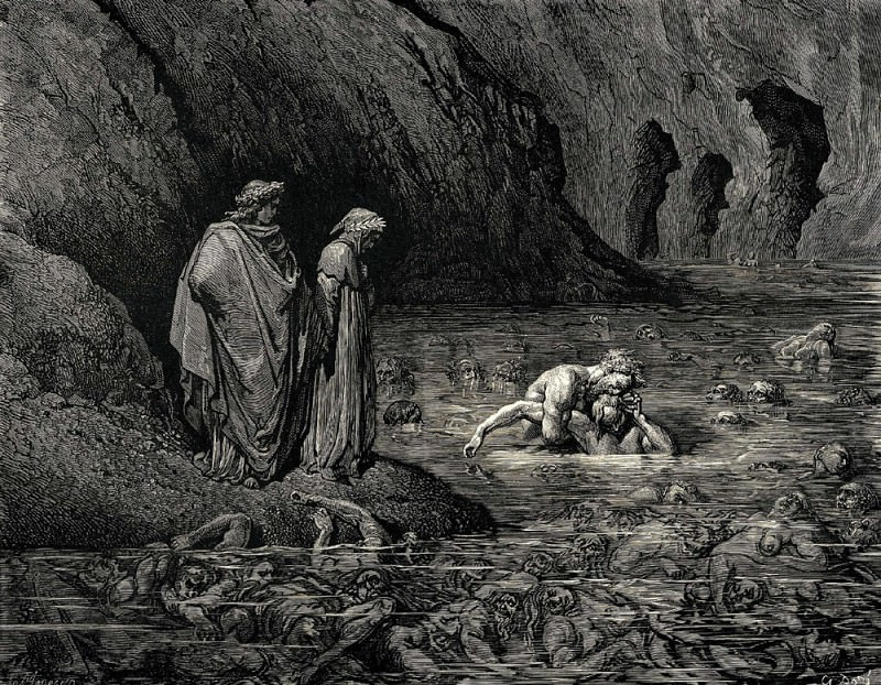 As Tydee angrily gnawed Menelippes temples he was also biting into his skull and ate the brain. Gustave Dore