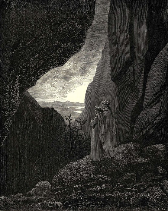 My guide and I entered the hidden path leading to our well lighted world. Gustave Dore