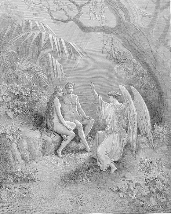 To whom the winged Hierarch replied O Adam one Almighty is from whom All things proceed. Gustave Dore