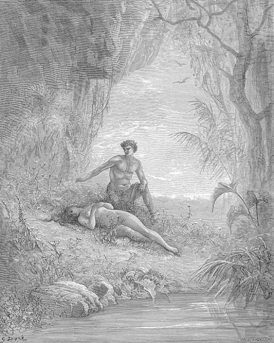 Leaning half naked with looks of cordial love Hung over her enamoured. Gustave Dore