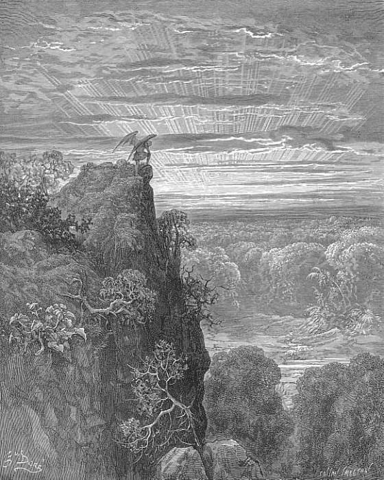 Now to the ascent of that steep savage hill Satan hath journeyd on pensive and slow. Gustave Dore