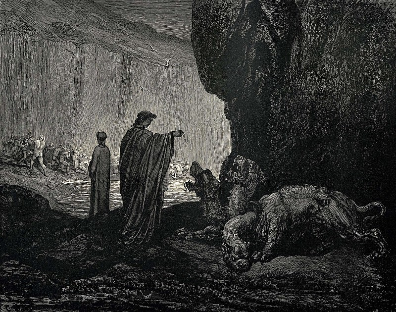 Then my guide his palms expanding on the ground thence filled with earth rais'd t. Gustave Dore