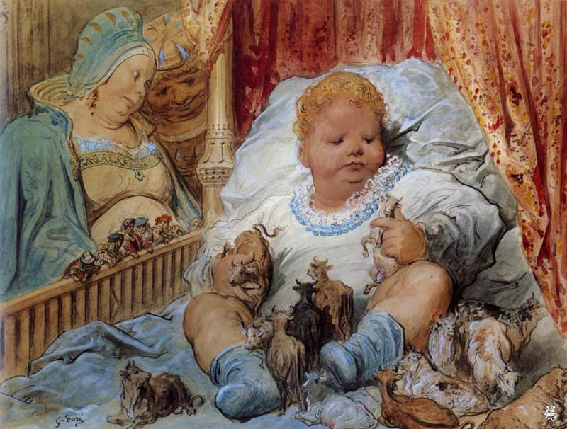 L enfance de Pantagruel. Gustave Dore