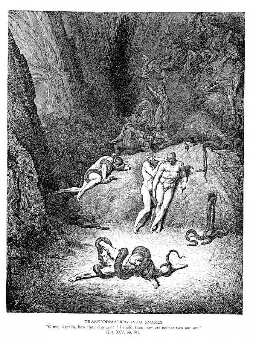 Transformation into Snakes. Gustave Dore