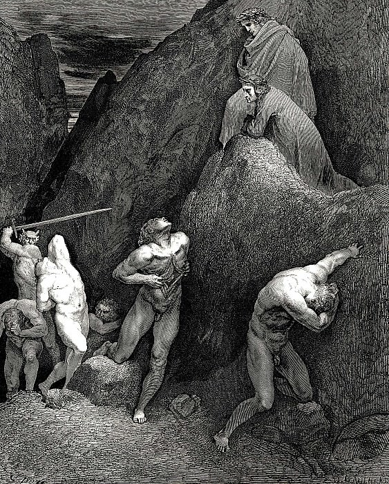 See how my intestines come out and see how Mahomet is being cut into pieces. Gustave Dore