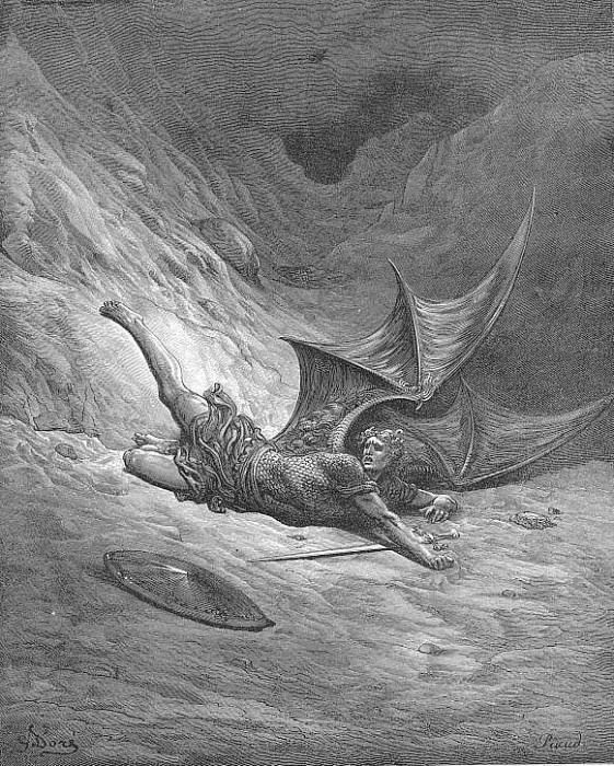 Then Satan first knew pain And writhed him to and fro. Gustave Dore