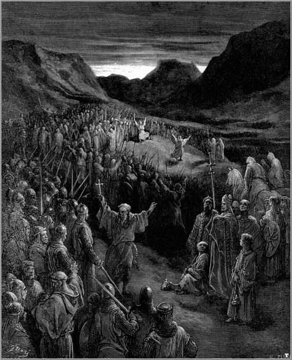 Священники наставляют крестоносцев. Гюстав Доре