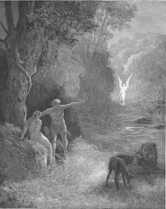 Eastward amoung those trees what glorious shape Comes this way moving. Gustave Dore
