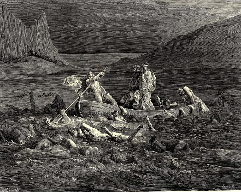 Soon as both embark-d cutting the waves goes on the ancient prow more deeply than with others it is wont. Gustave Dore