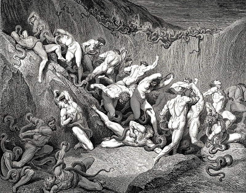Naked souls are being haunted through this cruel barren land of serpents without. Gustave Dore