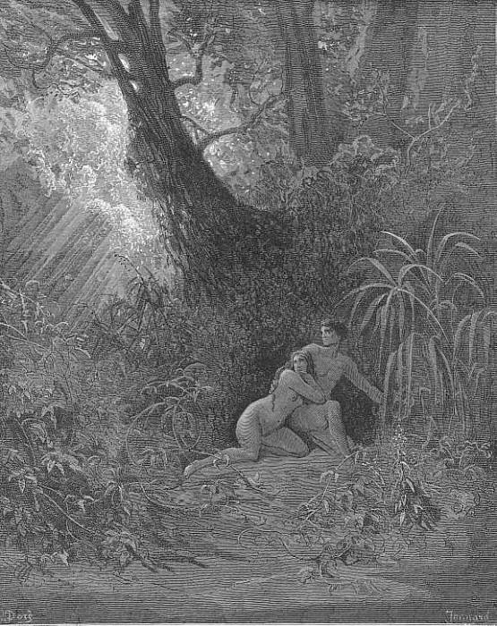 They heard And from His presence hid themselves amoung The thickest trees. Gustave Dore