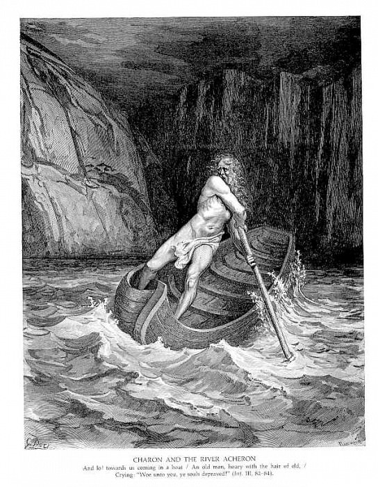 Charon and the River Chaeron. Gustave Dore