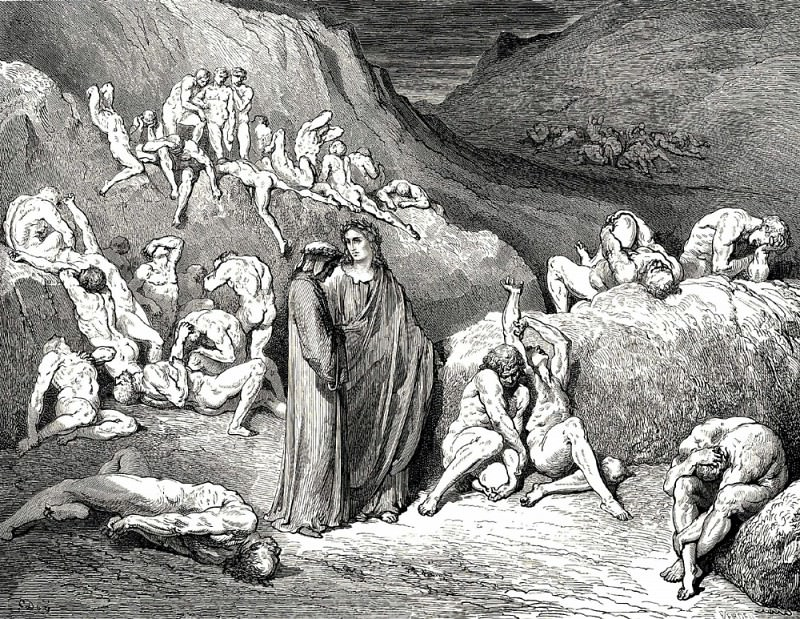 Their fingernails tear at the wounds like knifes open oysters. Gustave Dore