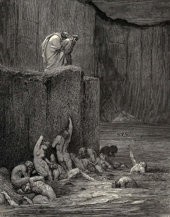 Why greedily thus bendest more on me than on these other filthy ones thy ken. Gustave Dore