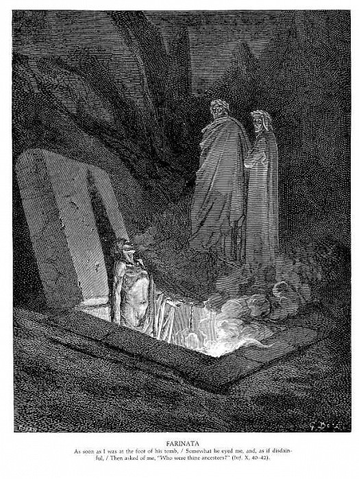 Фарината (Ад, Песнь десятая, Круг шестой). Гюстав Доре