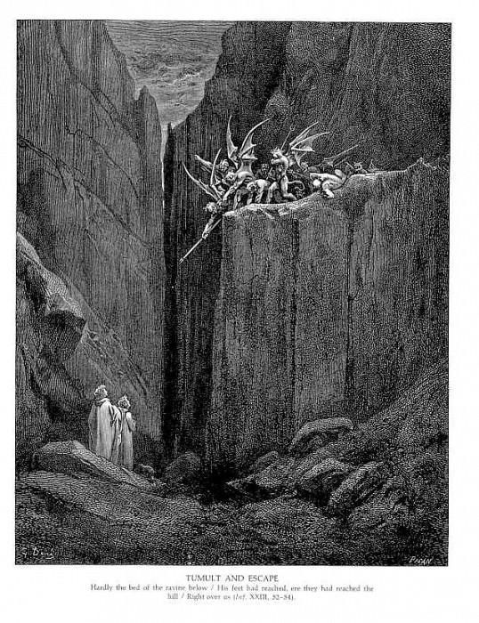 Tumult and Escape. Gustave Dore