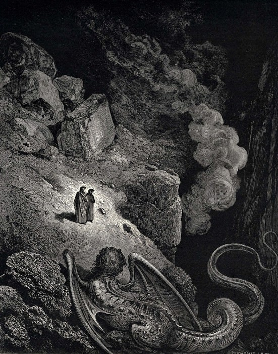 This hideous chimera of fraud approached us. Gustave Dore