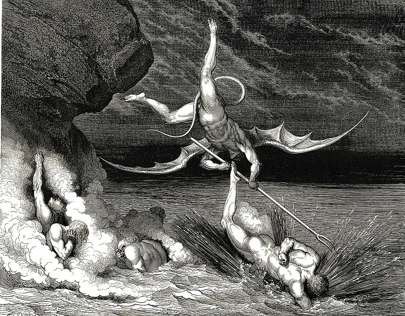 In pursuit he therefore sped exclaiming -Thou art caught-. Gustave Dore