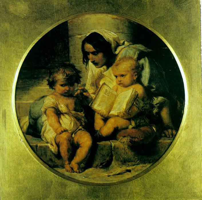 Дети, учащиеся читать, 1848. Поль Деларош