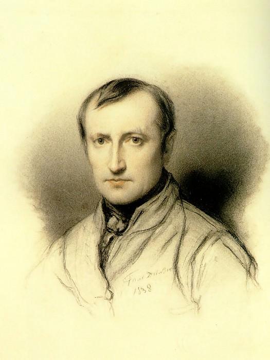 Автопортрет, 1838, угольный карандаш. Поль Деларош