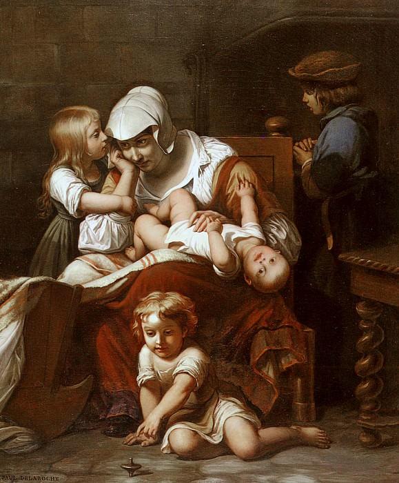Молодая мать и ее дети. Поль Деларош