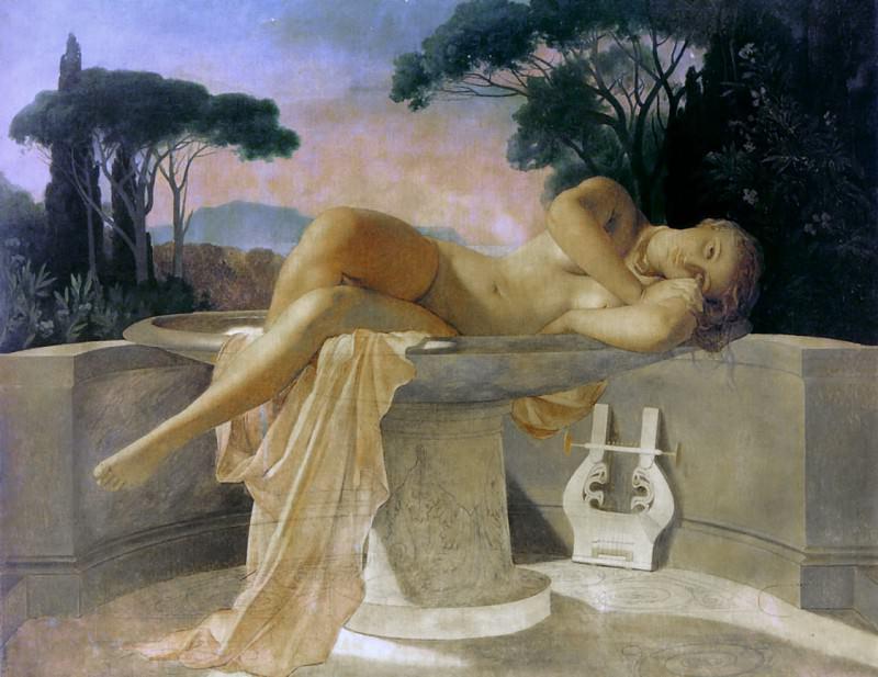 Девушка в чаше, 1845 (незавершенная картина). Поль Деларош