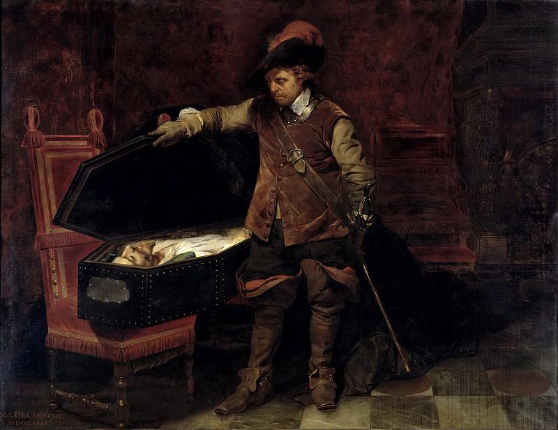 Оливер Кромвель (1599-1658), открывающий гроб с телом Карла I (1600-1649). Поль Деларош