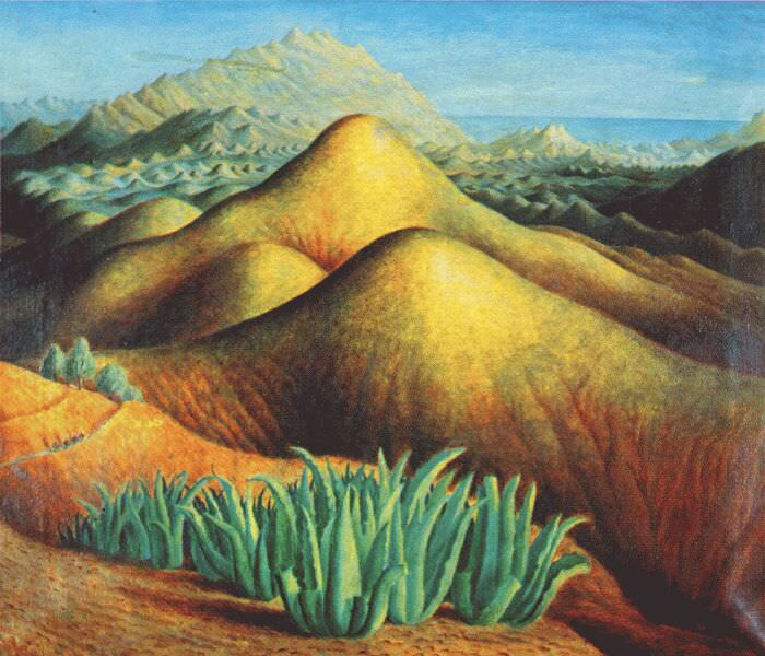 mountain ranges from yegen andalusia c1924. Dora Carrington