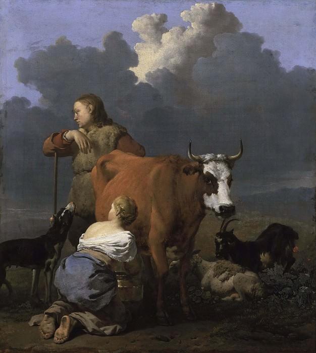 Peasant Girl Milking a Cow. Karel Dujardin