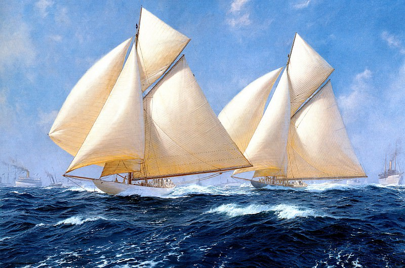 Columbia and Shamrock off Rhode Island 1899. J Steven Dews