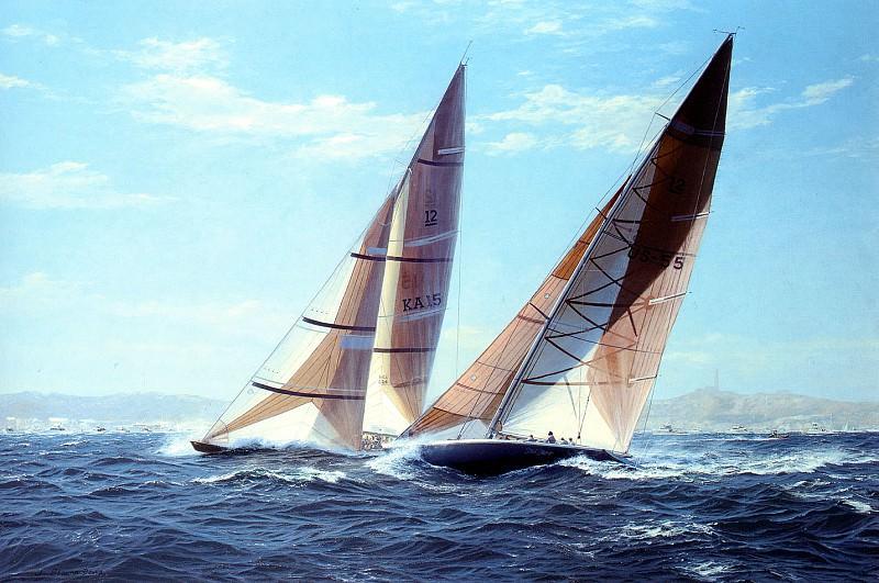 Парусник -Звезды и полосы- обгоняет судно -Кокабурра-. Джон Стивен Деус