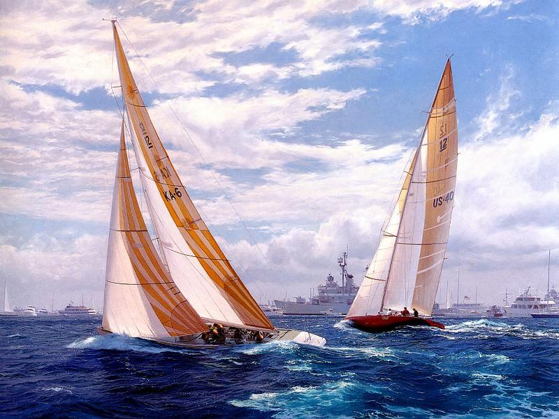 -Австралия II- делает поворот оверштаг, приближаясь к Кубку Америк, 1893. Джон Стивен Деус