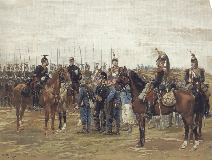A French Cavalry Officer Guarding Captured Bavarian Soldiers. Jean Baptiste Édouard Detaille