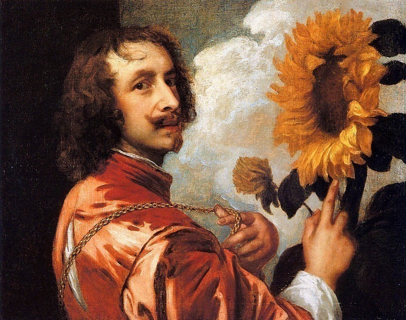 Self-portrait with sunflower. Anthony Van Dyck
