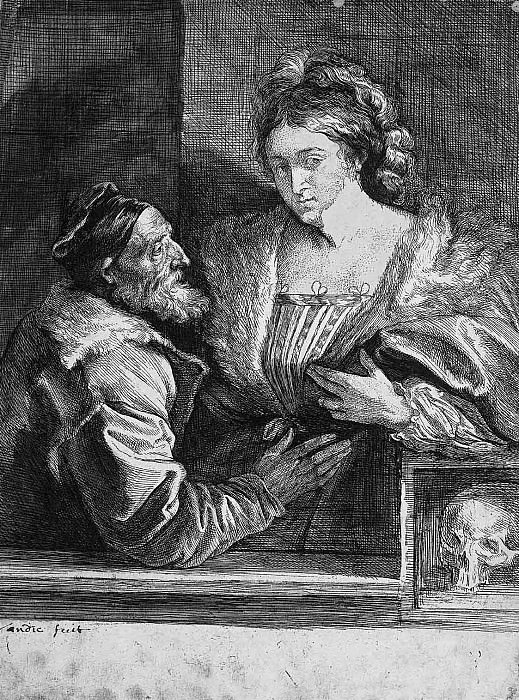 Titiaan and his mistress. Anthony Van Dyck
