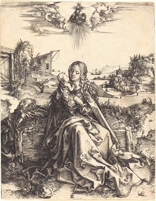 The Holy Family with dragonfly. Durer Engravings
