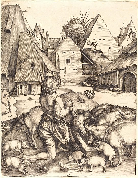 The Prodigal Son in a country far away (repentance of the Prodigal Son). Durer Engravings