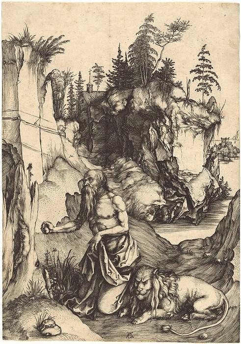 Saint Jerome, the penitent in the desert. Durer Engravings