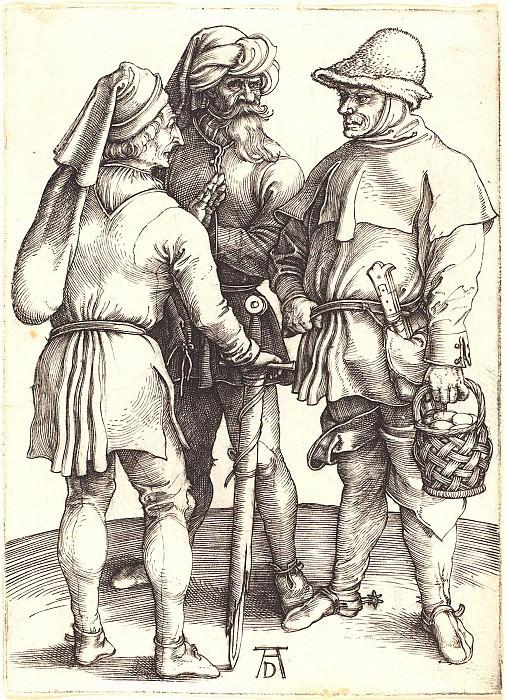 Three interviews peasant. Durer Engravings
