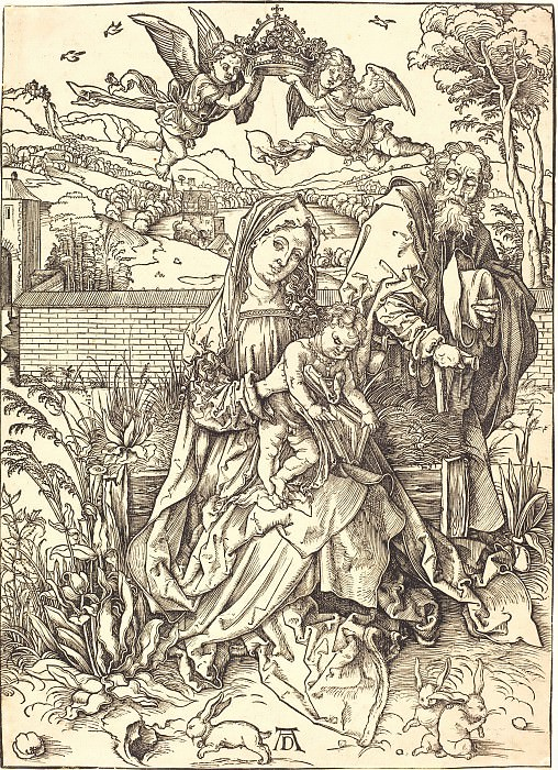 The Holy Family with three hares. Durer Engravings