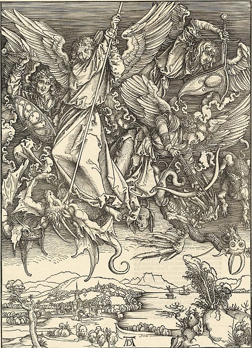 Saint Michael fighting the Dragon. Durer Engravings